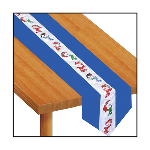 Pack of 6 Cobalt Blue and White Snowman Disposable Banquet Christmas Table Runners 6' - IMAGE 1