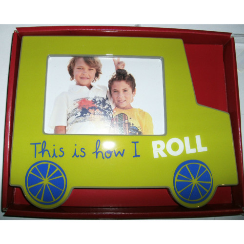 "8.75"" Green and Blue Car Tabletop Photo Frame - IMAGE 1"