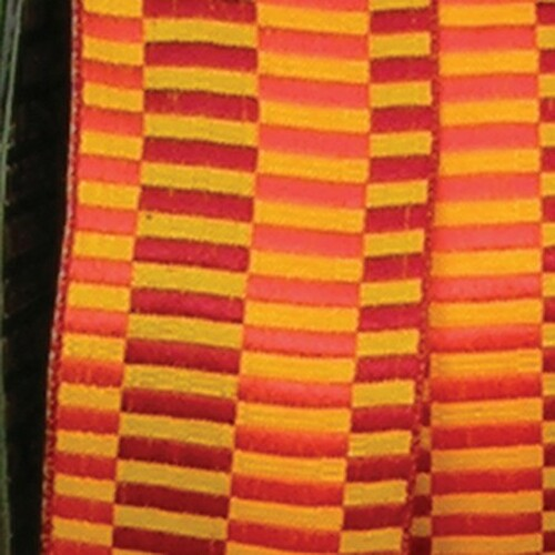 "Orange and Yellow Retro Blocks Woven Taffeta Wired Craft Ribbon 1.5"" x 54 Yards - IMAGE 1"