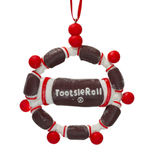 """4"""" Brown and Red Tootsie Roll Chewy Chocolate Candy Christmas Wreath Ornament - IMAGE 1"""