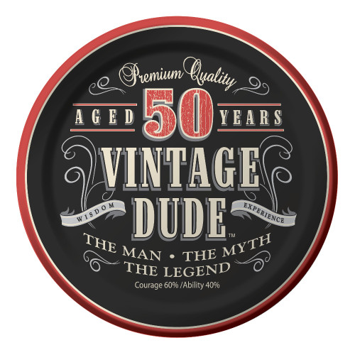 """Club Pack of 96 Vintage Dude 50 Years Disposable Paper Party Lunch Plates 7"""" - IMAGE 1"""
