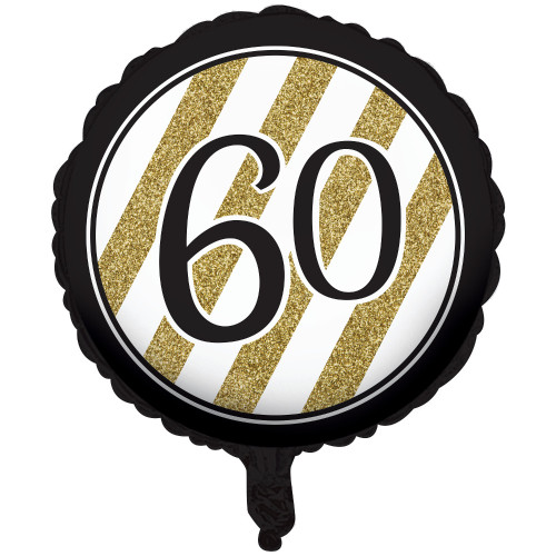 "Pack of 10 Black and Gold Metallic 60 Birthday or Anniversary Foil Party Balloons 18"" - IMAGE 1"