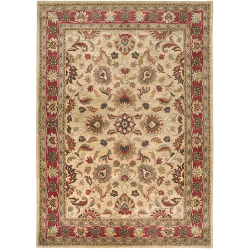 8' x 11' Brown and Beige Traditional Hand Tufted Rectangular Area Throw Rug - IMAGE 1