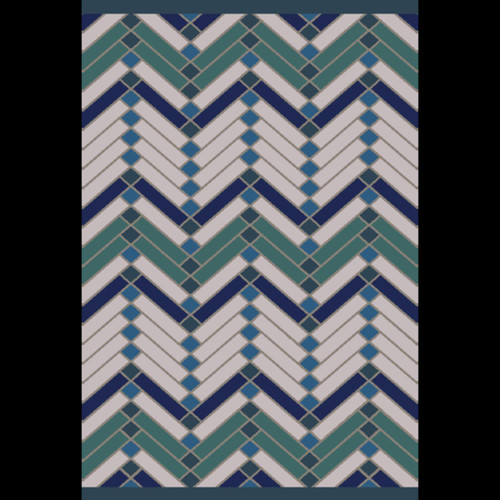 8' x 10' Geometric White and Blue Rectangular Area Throw Rug - IMAGE 1