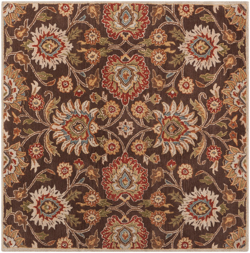 4' x 4' Floral Olive Green and Russet Brown Square Wool Area Throw Rug - IMAGE 1