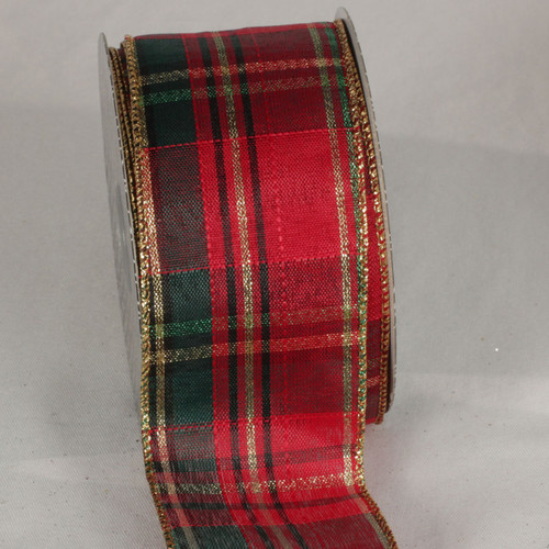 """Red and Green Tartan Wired Craft Ribbon 2.5"""" x 40 Yards - IMAGE 1"""