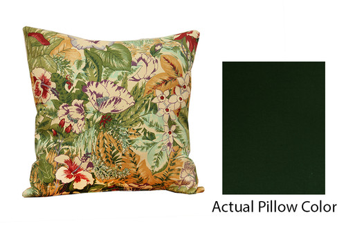 """18"""" Green and Ivory Floral Square Throw Pillow - IMAGE 1"""