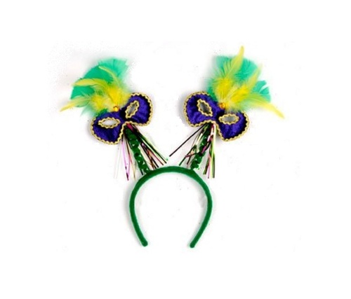 Club Pack of 12 Feathered Bopper Mardi Gras Headband Costume Accessories - One Size - IMAGE 1