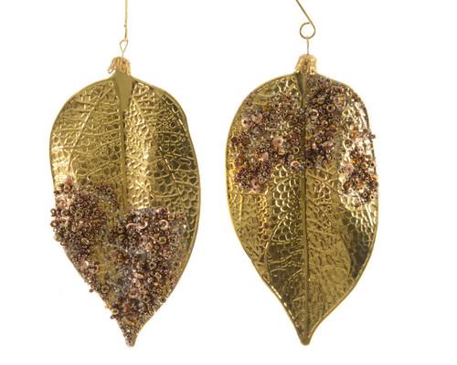 "Set of 2 Green and Gold Embellished Leaf Christmas Ornaments 5"" - IMAGE 1"