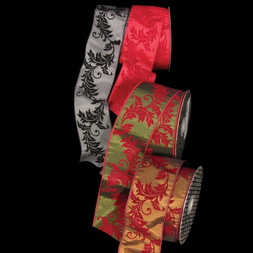 """Red and Green Sheer Wired Christmas Craft Ribbon 2.5"""" x 20 Yards - IMAGE 1"""