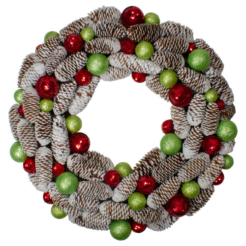 Candy Crush Frosted Pine Cone and Ball Ornament Artificial Christmas Wreath - 21-Inch, Unlit - IMAGE 1
