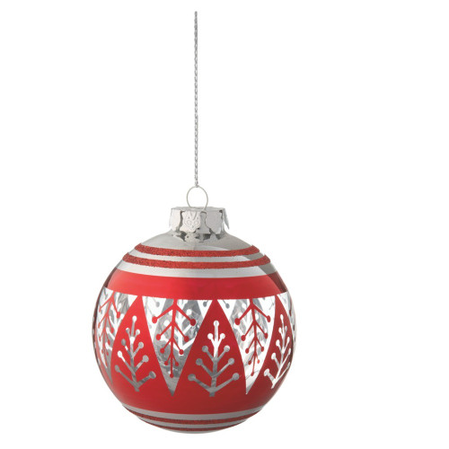 """3.75"""" Alpine Chic Red and Silver Christmas Tree Design Glass Ball Ornament - IMAGE 1"""