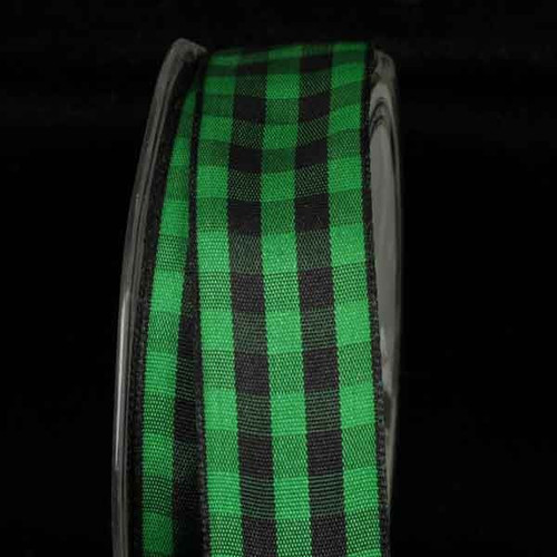 """Black and Green Gingham Wired Woven Edge Craft Ribbon 1"""" x 54 Yards - IMAGE 1"""