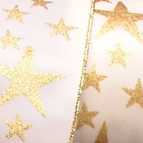 """Gold and Ivory Star Print Wired Craft Ribbon 1.5"""" x 20 Yards - IMAGE 1"""