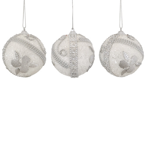 """3ct White and Silver Beaded Flowers with Leaves Shatterproof Christmas Ball Ornaments 3"""" (75mm) - IMAGE 1"""