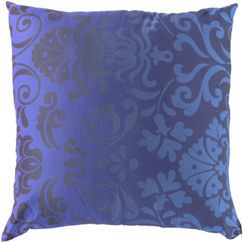 "18"" Blue Contemporary Floral Square Throw Pillow - Down Filler - IMAGE 1"