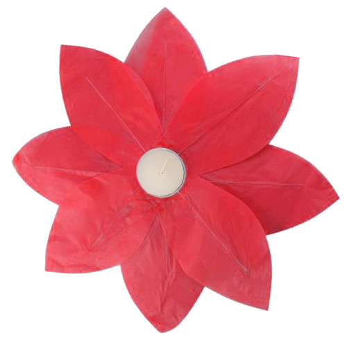 """Set of 6 Red Floating Lotus Paper Flower Lanterns with Tea Light Candle 12"""" - IMAGE 1"""