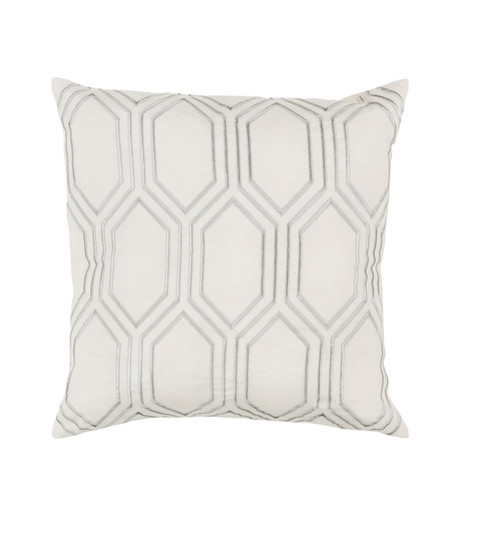 "20"" White and Gray Geometric Square Throw Pillow - Down Filler - IMAGE 1"