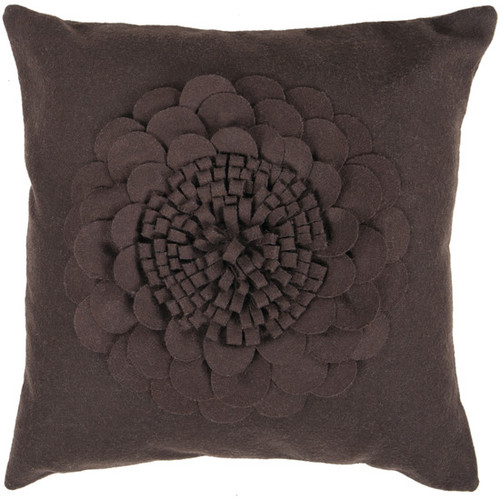 """22"""" Espresso Brown Dimensional Applique Flower Decorative Throw Pillow - Poly Filled - IMAGE 1"""