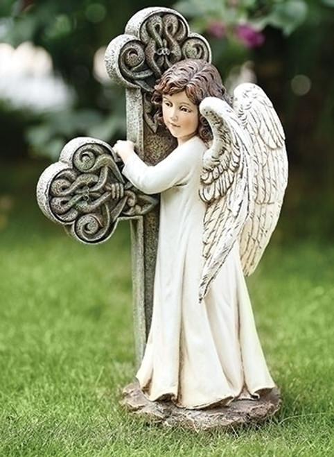 "11.75"" White Serene Angel Facing a Cross Outdoor Patio Garden Statue - IMAGE 1"