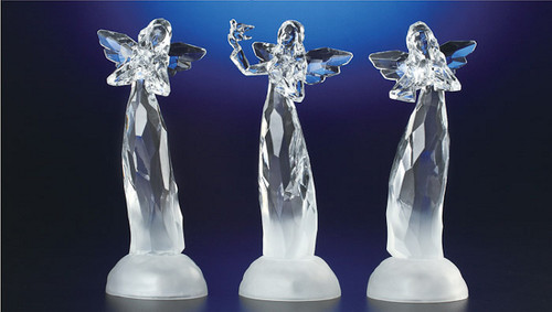 "Set of 6 Clear Decorative LED Lighted Icy Christmas Angels Table Top Figurines 8.5"" - IMAGE 1"