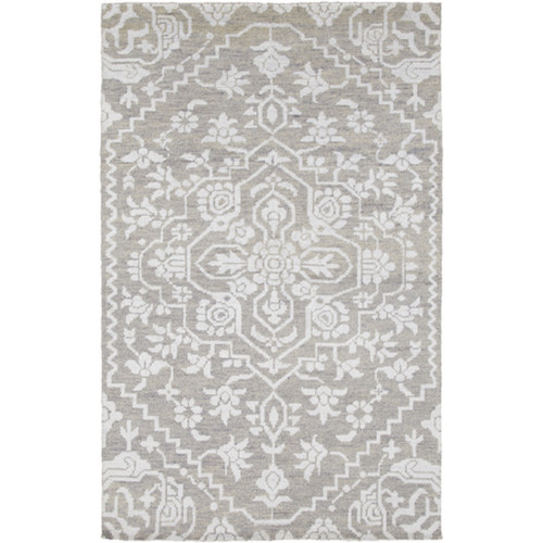 9' x 12' White and Gray Labyrinth Hand Knotted Rectangular Area Throw Rug - IMAGE 1