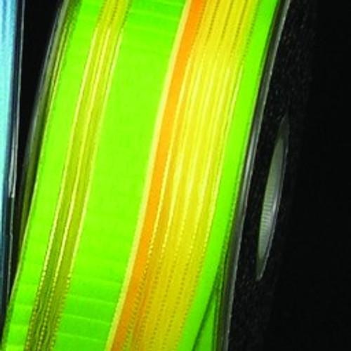 "Green and Orange Stripe Wired Craft Ribbon 1.5"" x 54 Yards - IMAGE 1"