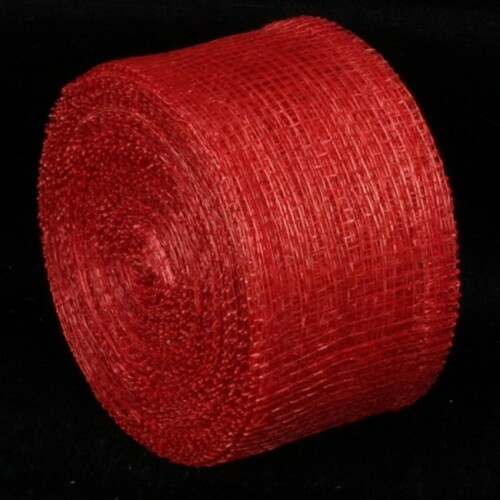 "Red Sinamay Fiber Wired Craft Ribbon 2"" x 64 Yards - IMAGE 1"