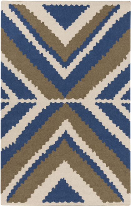 3.25' x 5.25' Blue Hand Woven Wool Area Throw Rug - IMAGE 1