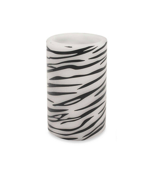 """6.75"""" Zebra Print Battery Operated Flameless LED Lighted Flickering Wax Pillar Candle with Remote - IMAGE 1"""