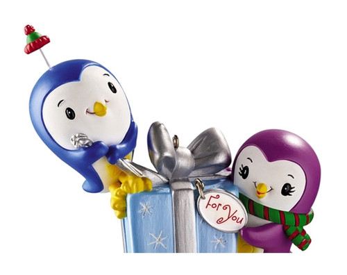 "3.25"" Purple and Blue Polar Pals Chitter Chatter Christmas Ornament - IMAGE 1"