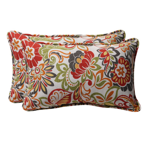 Set of 2 Red and White Floral Rectangular Outdoor Corded Throw Pillows 18.5-Inch - IMAGE 1