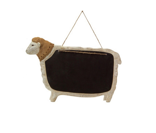 """Country Rustic Cream and Beige Hanging Sheep with Chalkboard 14.5"""" - IMAGE 1"""
