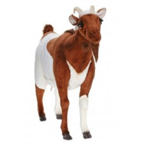 """41"""" Brown and White Handcrafted Soft Plush Standing Goat Stuffed Animal - IMAGE 1"""