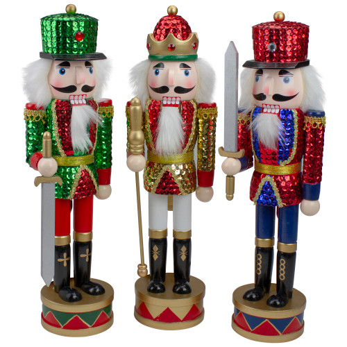 """Set of 3 Red Sequin Jacket Wooden Christmas Nutcrackers 14.25"""" - IMAGE 1"""