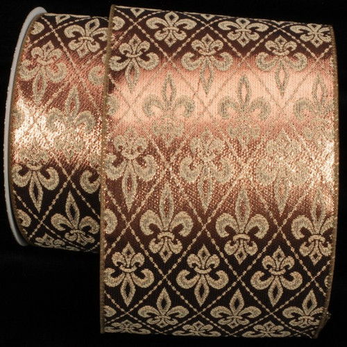"Metallic Olive and Gold Fleur De Lis Wired Craft Ribbon 5"" x 20 Yards - IMAGE 1"
