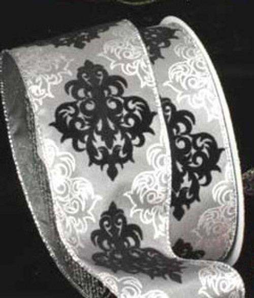 "Black and Gray Damask Wired Craft Ribbon 2.5"" x 20 Yards - IMAGE 1"