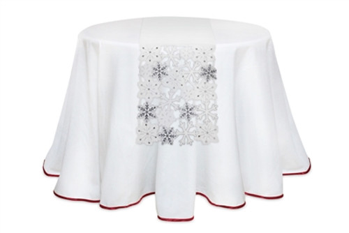 "13.5"" White and Silver Colored Snowflake Embroidered Christmas Table Runner - IMAGE 1"