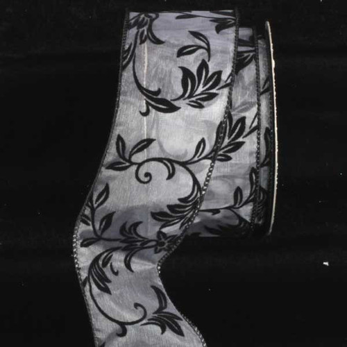 """White and Black Leafy Vine Printed Wired Craft Ribbon 2.5"""" x 20 Yards - IMAGE 1"""