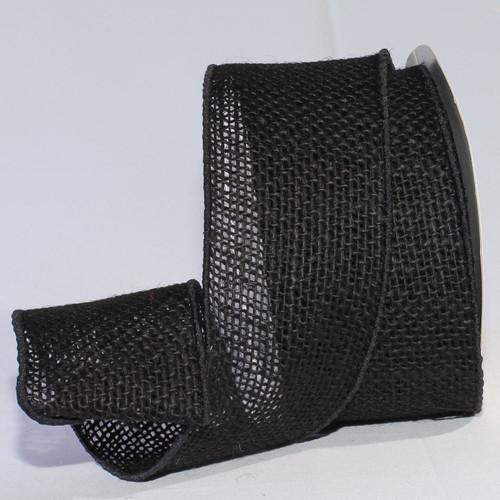 "Black Burlap Wired Craft Ribbon 3"" x 20 Yards - IMAGE 1"