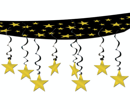 Pack of 6 Black and Gold Hollywood Party Stars Hanging Ceiling Decors 12' - IMAGE 1