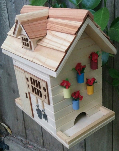 """8"""" Beige and Brown Flower Shed Outdoor Garden Birdhouse - IMAGE 1"""