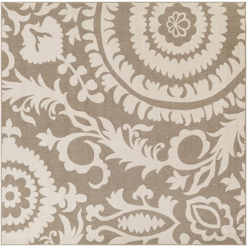 8.75' x 8.75' Beige and Taupe Brown Floral Shed-Free Square Area Throw Rug - IMAGE 1