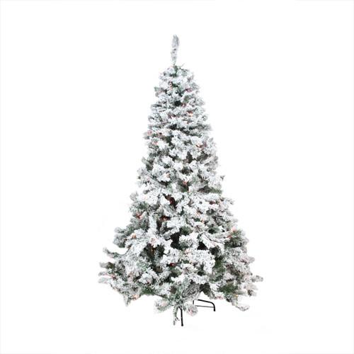 9' Pre-Lit Heavily Flocked Pine Medium Artificial Christmas Tree - Multicolor Lights - IMAGE 1
