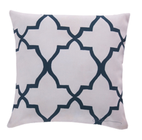 """20"""" Beige and Navy Blue Floral Square Throw Pillow Cover - IMAGE 1"""