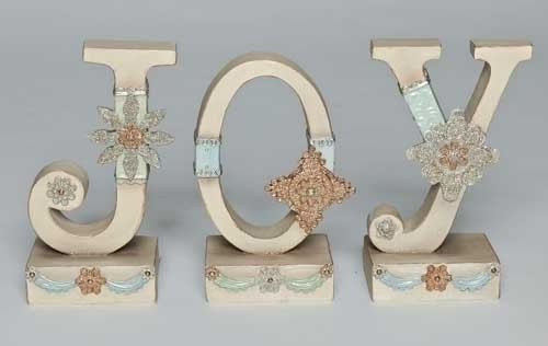 "3pc Ivory Vintage JOY Christmas Tabletop Signs 7.5"" - IMAGE 1"