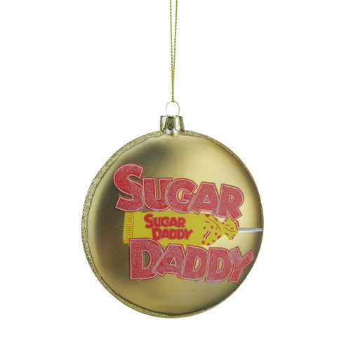 """4"""" Gold and Red """"Sugar Daddy"""" Milk Caramel Lollipop Christmas Disc Ornament - IMAGE 1"""