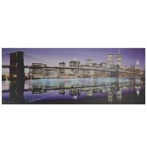 "LED Lighted Famous New York City Brooklyn Bridge Skyline Canvas Wall Art 15.75"" x 39.25"" - IMAGE 1"