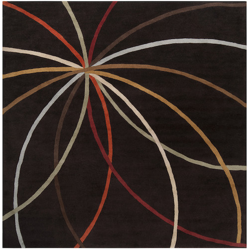 9.75' x 9.75' Black and Red Contemporary Hand Tufted Square Wool Area Throw Rug - IMAGE 1