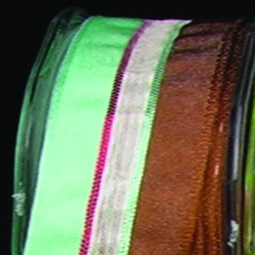 """Sheer Brown and Green Striped Wired Craft Ribbon 0.75"""" x 108 Yards - IMAGE 1"""